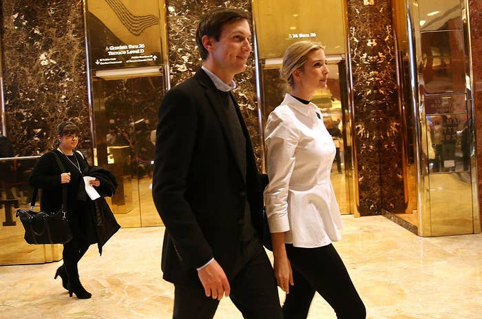 Jared Kushner, the son-in-law of President-elect Donald Trump, with his wife Ivanka on November 18, 2016.