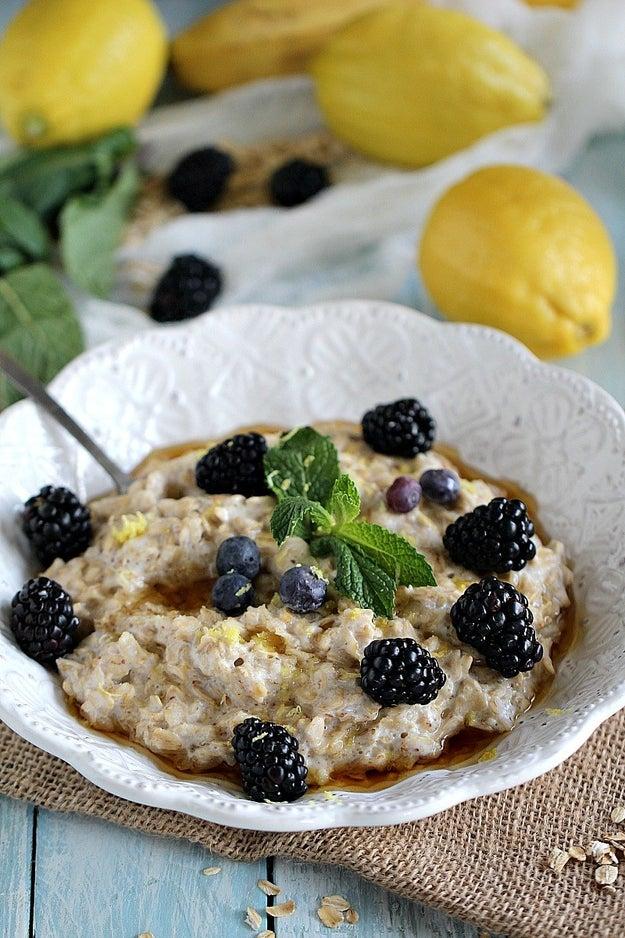Maple Lemon Blackberry Cheesecake Oatmeal