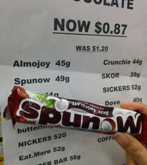 Ooh, a chocolately, coconut-y Spunow bar!