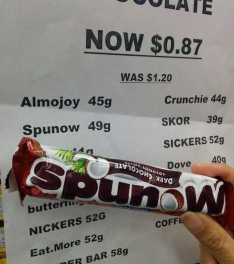 Ooh, a chocolately, coconut-y Spunow bar!