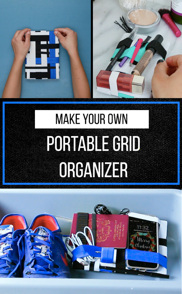 Use Elastic Bands And Hook And Loop Tape To Make This Grid Organizer