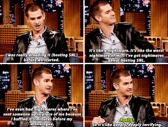 "When he talked about how terrified he was to host SNL, and also used the word ""buffled""."