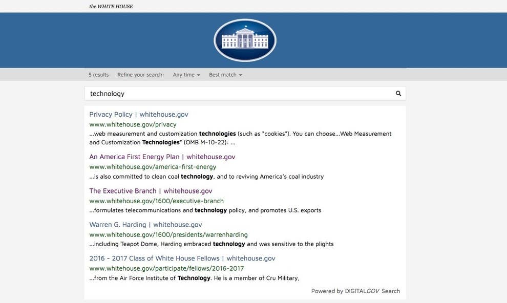 The New White House Website Says Almost Nothing About Tech
