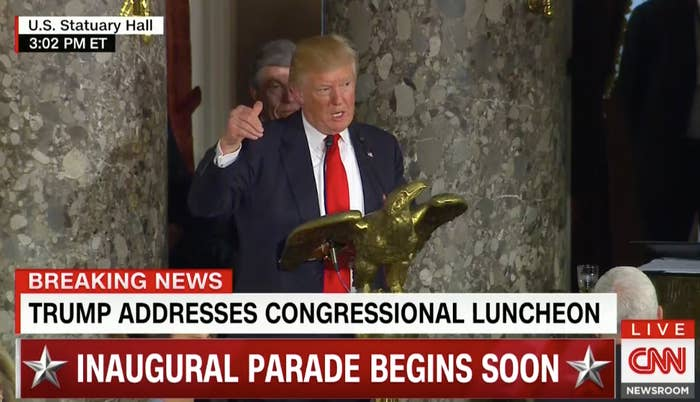 """Trump took the podium and announced to the roomful of people that there was something he wanted to specifically address. """"There is something that I wanted to say,"""" he began."""