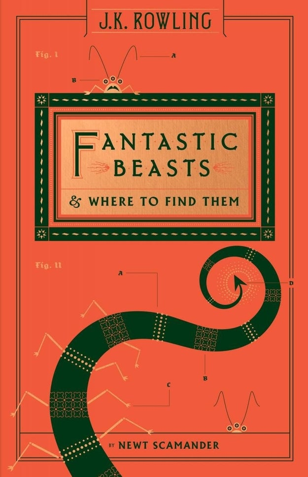 A winding tentacle and antennae-d creature beckon from the cover of Fantastic Beasts and Where to Find Them.