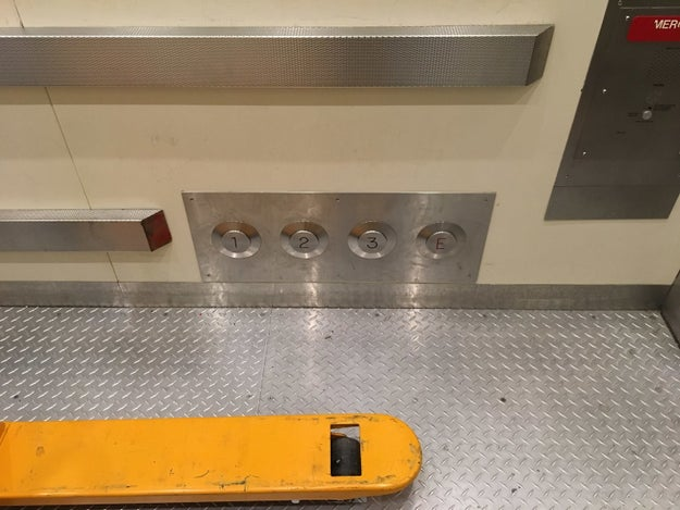 This elevator you can operate with your feet if your hands are full.