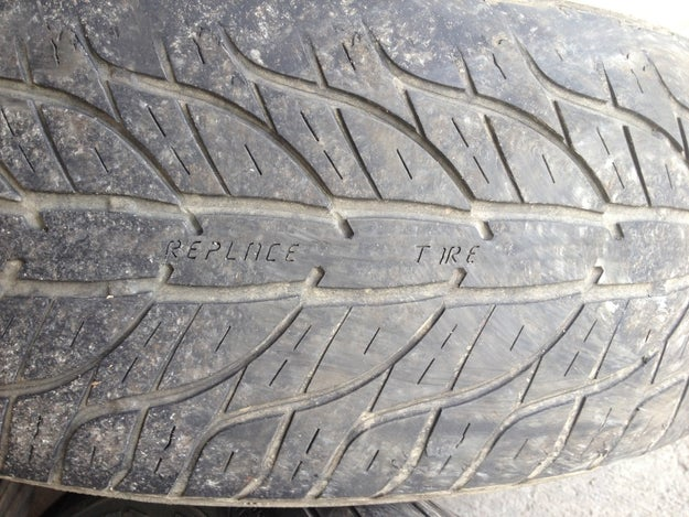 This tyre that displays this message once it's been worn down.
