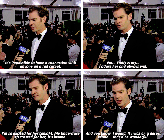When he used his time on the Golden Globes red carpet to gush about how great Emma Stone is.
