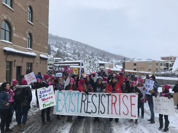 Chelsea Handler led a snowy march that took place this morning in Park City, Utah, where the Sundance Film Festival is currently taking place.
