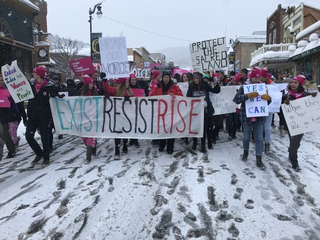 Earlier this morning, protesters marched down Main Street in Park City, Utah — where the Sundance Film Festival is currently taking place — in a Women's March organized by Chelsea Handler.