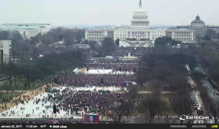 "Trump accused the media of showing ""an empty field"" and saying that 250,000 people turned up for his inauguration. ""Now, that's not bad,"" Trump said. ""But it's a lie. We had 250,000 people literally around in the little ball we constructed. That was 250,000 people."""