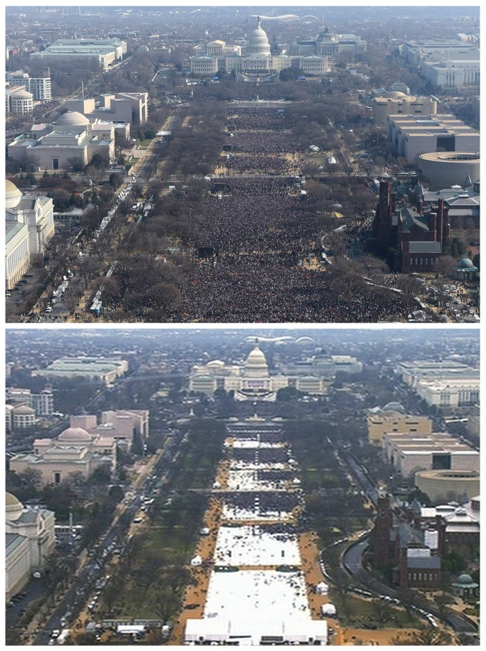 This pair of photos shows a view of the crowd on the National Mall at the inaugurations of President Barack Obama, above, on Jan. 20, 2009, and President Donald Trump, below, on Jan. 20, 2017. The photo above and the screengrab from video below were both shot shortly before noon from the top of the Washington Monument.