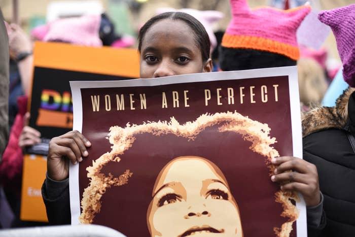 Nadia da Rosa, 15, from Providence, R.I., attends the Women's March on Washington.