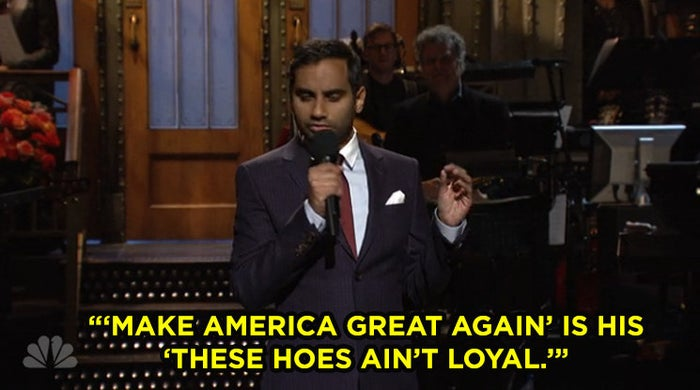 """Ansari said some people voted for Trump with the same mindset people use when it comes to Brown's music: """"I'm just here for the tunes, not the extracurriculars."""""""