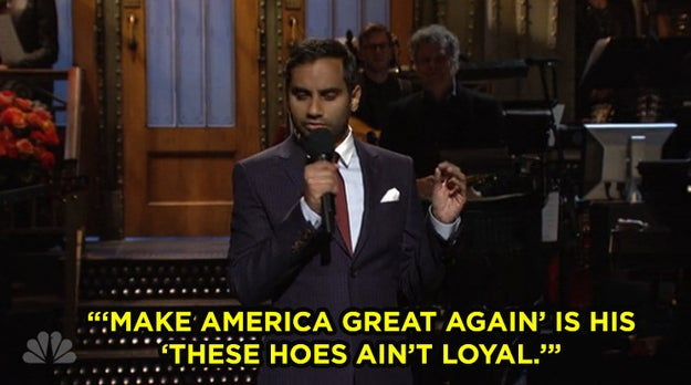 "Ansari started his set by calling Trump ""the Chris Brown of politics."""