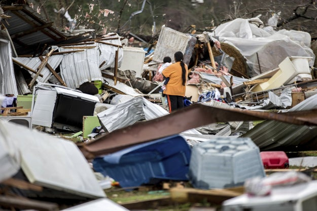 At least 16 people were killed in severe weather that swept through the southeast US over the weekend.