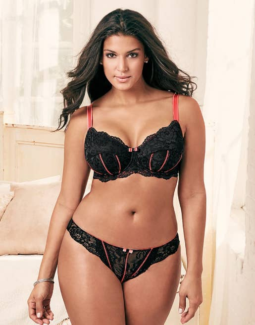A lovely lacy set with contrast piping. Up to size 46G 4X. Get it from  Adore Me for  49.95. d3b4ddb04