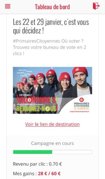 Une autre campagne pour la page qui recense les bureaux de vote de la primaire propose même de payer les influenceurs 70 centimes d'euros par clic obtenu.