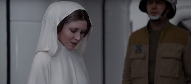 If you've seen Rogue One, then you know the climactic final two minutes of the film feature not only a terrifying scene with Darth Vader, but also Princess Leia.