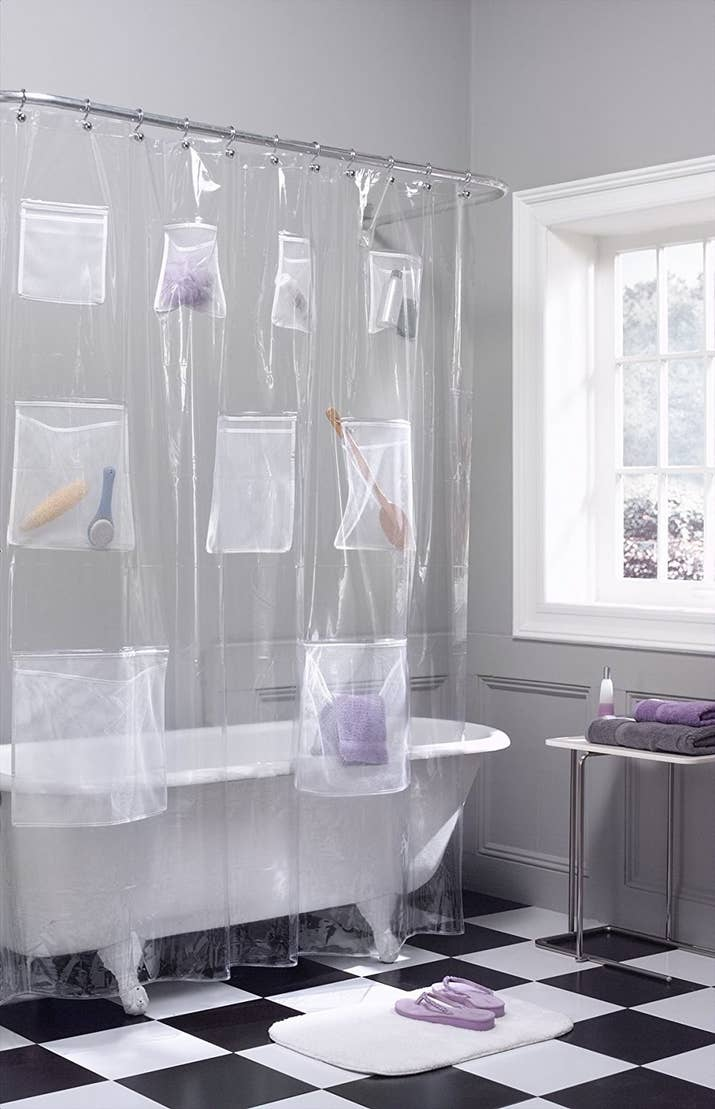Switch to a curtain with pockets (on pockets) for less clutter inside the  actual shower.