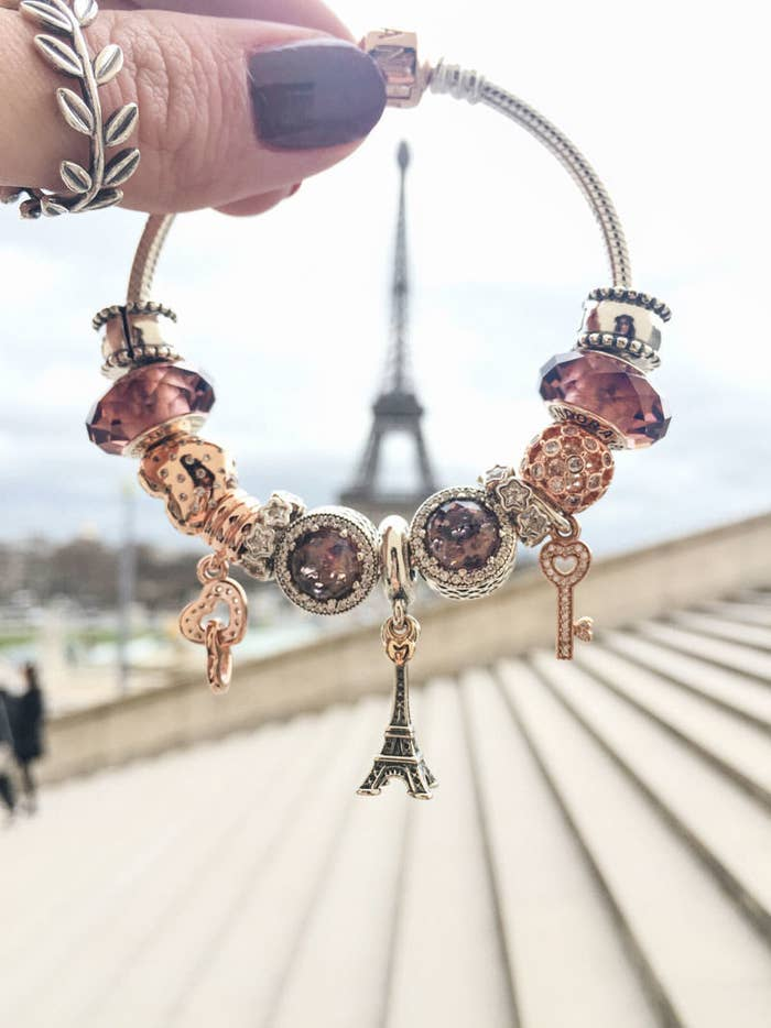 Did you study abroad in London and LOVE it? Or maybe you just like to wind through the streets of Paris with a fresh baguette? Let a travel bracelet take you there.Travel-inspired charms start at $40.