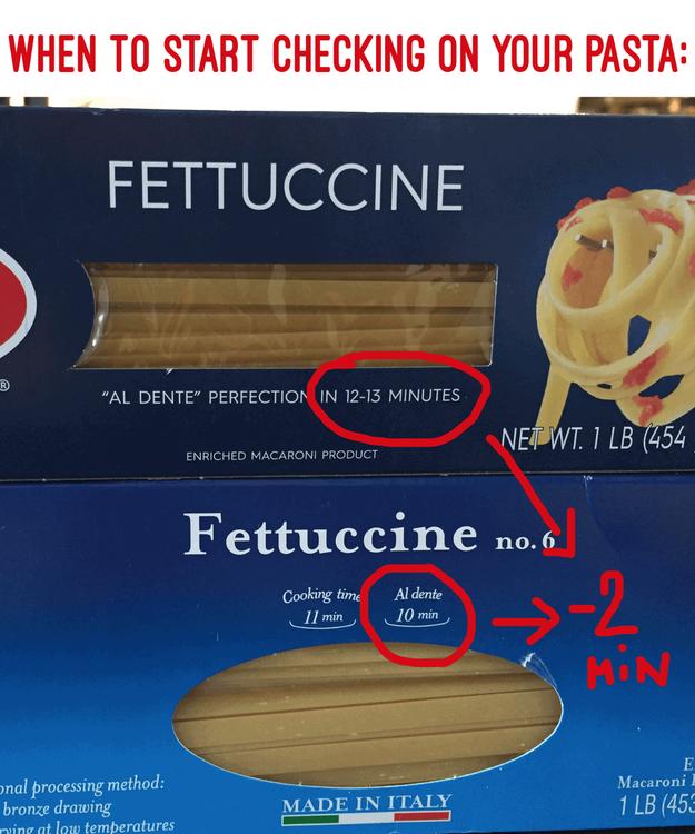 Não verificar se a massa está cozida antes do tempo especificado na embalagem.