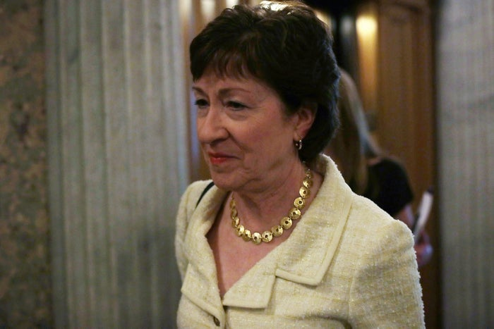 Sen. Susan Collins arrives outside the Senate Chamber at the US Capitol.