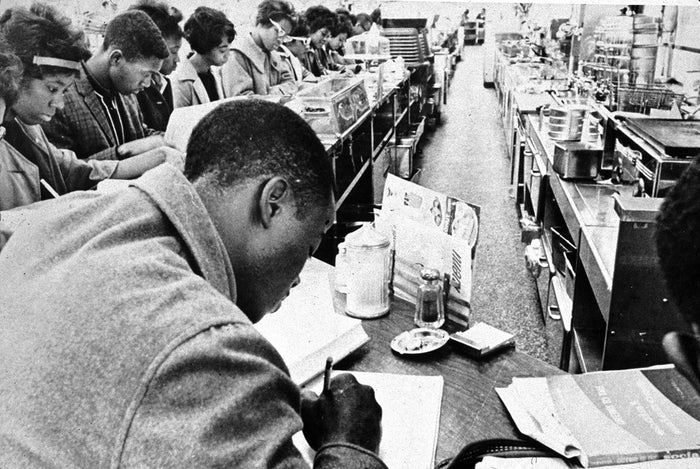 College students at a sit-in in Little Rock, Arkansas, in 1962.