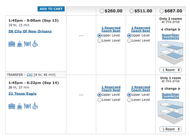 Le prix des billets de train.
