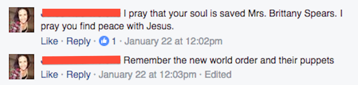 """""""I pray that your soul is saved Mrs. Brittany Spears. I pray you find peace with Jesus."""""""