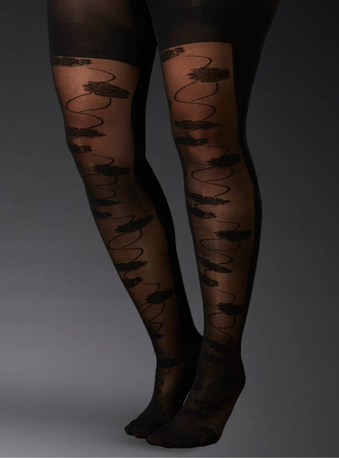 22e6bd30b Sexy floral-front tights that ll show off your gams -- even when it s  frigid outside.