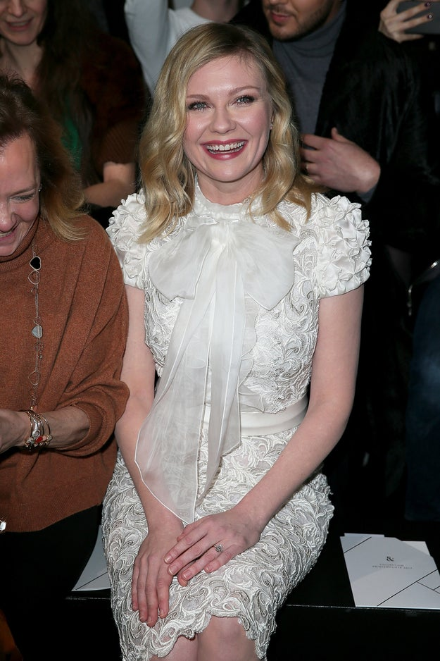 Today Kirsten Dunst attended the Ralph & Russo Haute Couture show as part of Paris Fashion Week, and there was something ~sparkly~ on her finger: