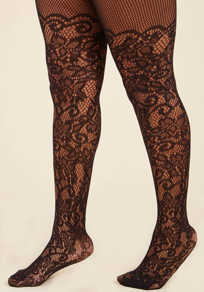 666ec465f Intricately patterned tights with an over-the-knee twist to classic fishnet.
