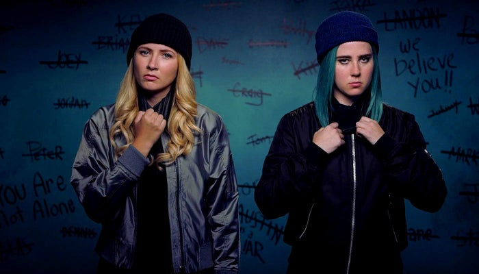 Jules (Eliza Bennett) and Ophelia (Taylor Dearden), the central characters of Sweet/Vicious.