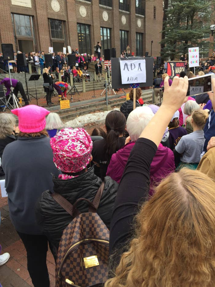 """""""A lot of the women at the Ann Arbor women's march on Saturday were those who had protested for their rights in the 60s and were continuing the fight today for all of us. I am so grateful for the liberties these women afforded me-- and hope to make them proud as I carry on the torch."""" (Suzy Weiss, Ann Arbor, MI)"""