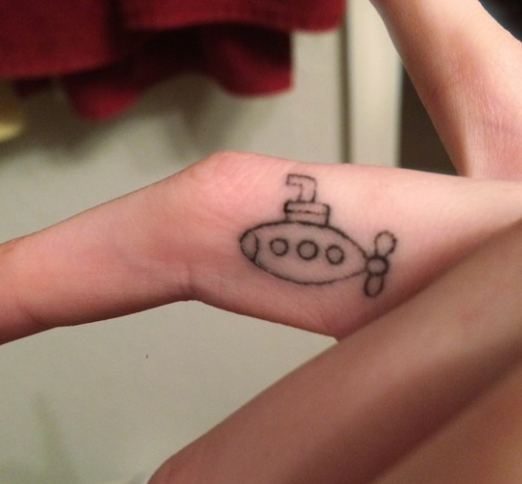 A singer tattoo of a submarine