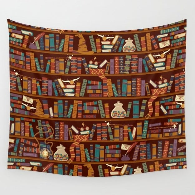 Hang a tapestry to make your wall look like the Hogwarts library.