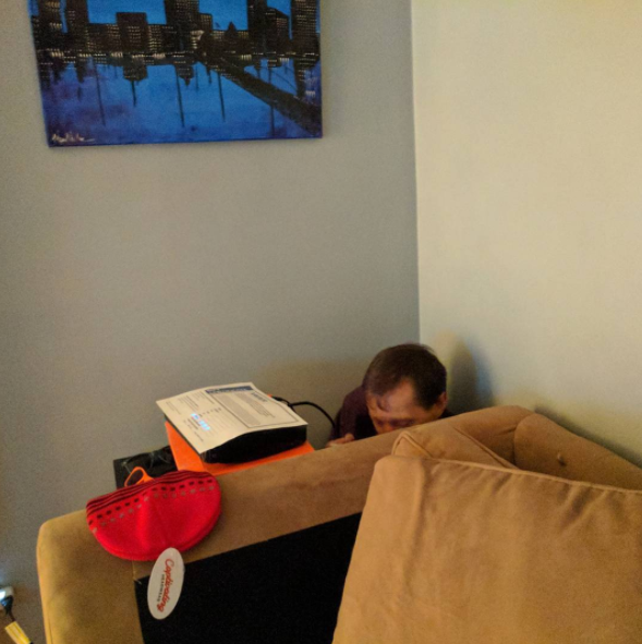 Nothing like eating a bowl of cereal in the corner, behind the sofa, amirite?