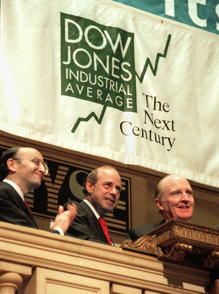 General Electric's then-CEO Jack Welch rings the NYSE opening bell on May 28, 1996 — the 100th anniversary Dow Jones Industrial Average.