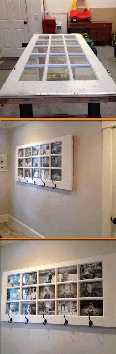 Recyclez une porte vitrée en porte-manteaux/et cadre photos géant.