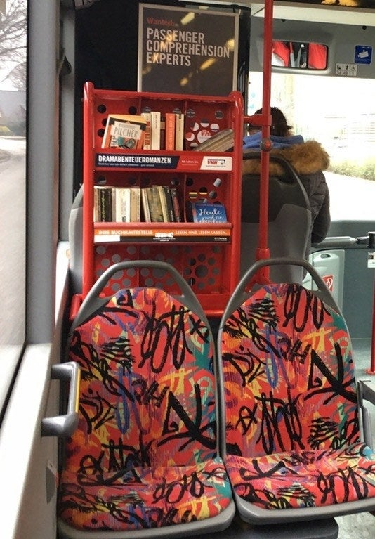 All passengers have to do is pick a book they like, and start reading. If they don't finish their book during their bus ride, they can take it home and either bring it back to the bus or mail it to the store that provides the books.