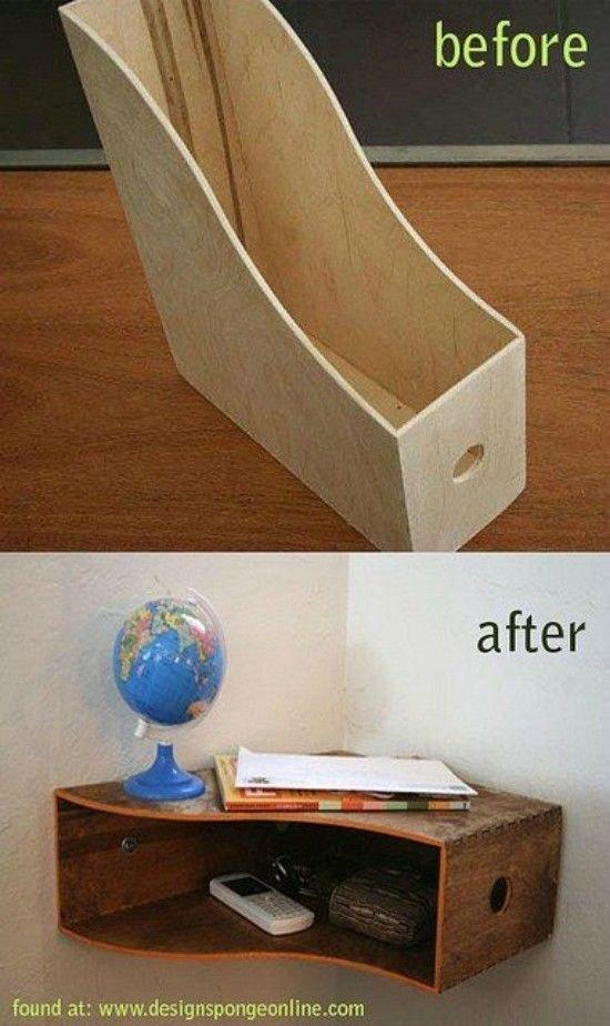 Et enfin, transformez un porte-dossiers en bois pour faire une étagère de coin super stylée.