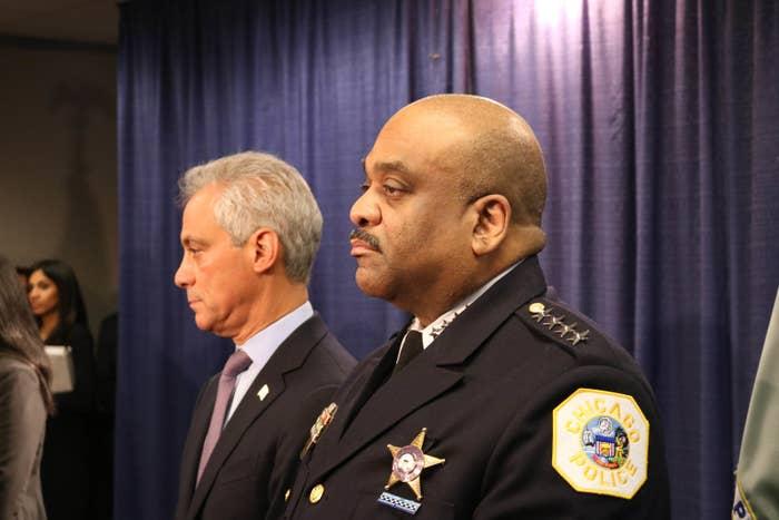 Chicago Mayor Rahm Emanuel and Chicago Police Superintendant Eddie Johnson.