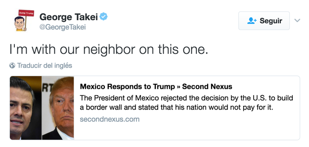 Actor George Takei is also on our side.