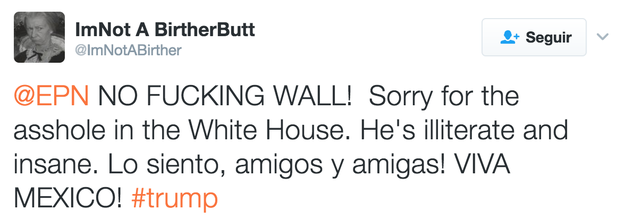 """""""Sorry we got a jerk in the White House."""""""