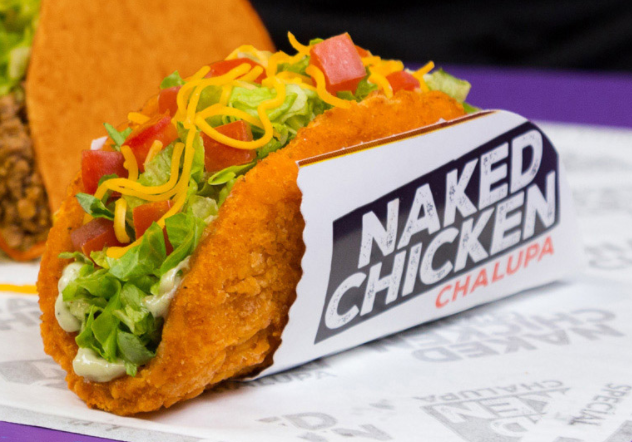 """That's right, the """"shell"""" is made out of chicken. It's filled with lettuce, tomato, cheese and avocado ranch sauce."""