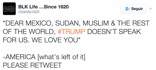 Trump does not speak for us.