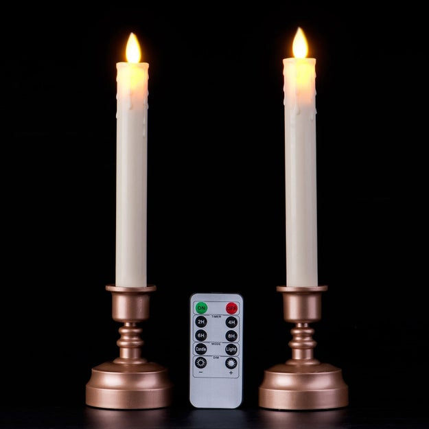 Create the perfect mood for classic literature by basking in the glow of these realistic, flickering electric candlesticks.