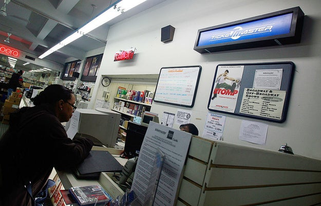 Physically buying your tickets for concerts at a Ticketmaster located inside a music store.