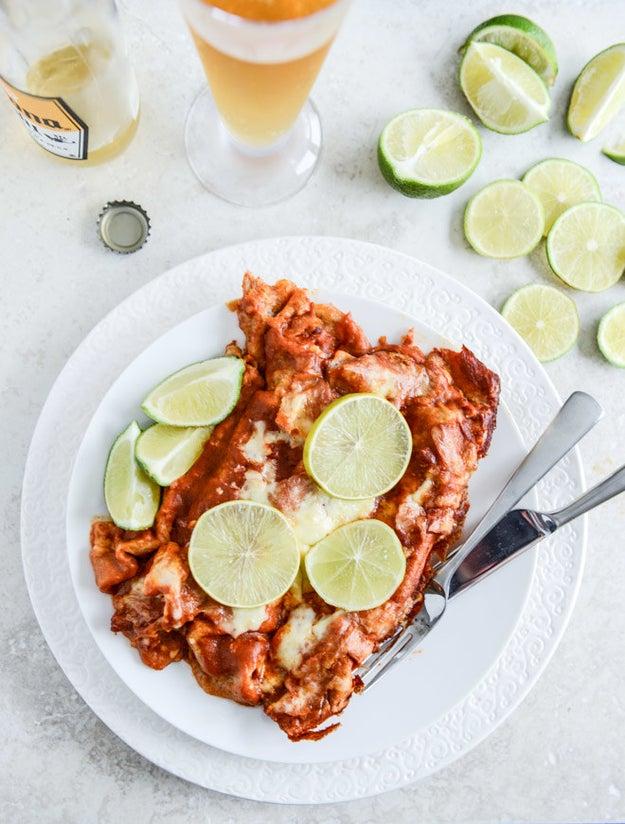 Spicy Beer-Braised Lime Chicken Enchiladas